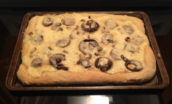 Fontina and Mushroom Pizza with Black Truffle Oil